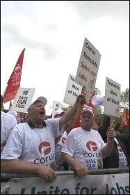 Corus steel workers on the Unite jobs demonstration in Birmingham, photo Paul Mattsson