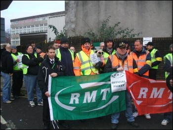 Striking Newport RMT signals workers, photo Socialist Party Wales