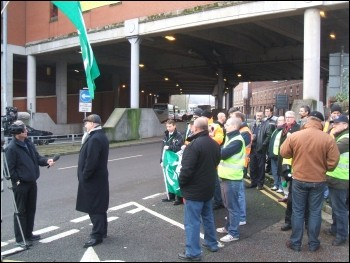 Bob Crow with Striking Newport RMT signals workers, photo Socialist Party Wales