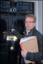 Sean Figg takes the Youth Fight for Jobs petition to Downing Street, photo Sarah Mayo