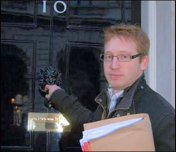 Sean Figg takes the Youth Fight for Jobs petition to Downing Street, photo by Sarah Mayo