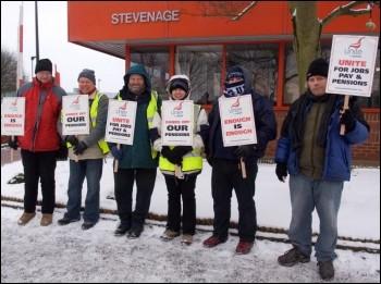 Fujitsu workers, members of Unite, on strike in Stevenage, photo by Guy Smallwood