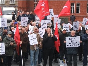 Visteon pensioners protest in Wales outside the Welsh parliament, photo Socialist Party wales