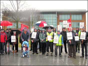 Seventh day of national strike action at Fujitsu IT, photo by Manchester Socialist Party