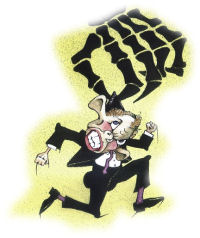Tony Blair and the hand of death - from a cartoon by Alan Hardman