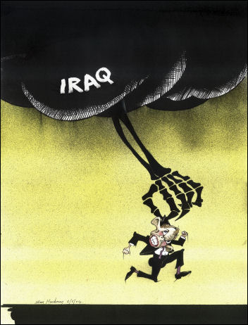 Death reaches out to Tony Blair from Iraq - cartoon by Alan Hardman