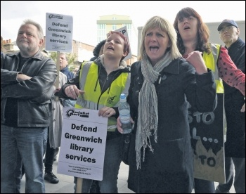 Greenwich Unite library campaigners in 2012, photo Paul Mattsson