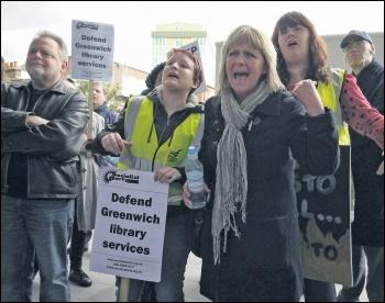 Greenwich Unite library campaigners in 2012, photo Paul Mattsson