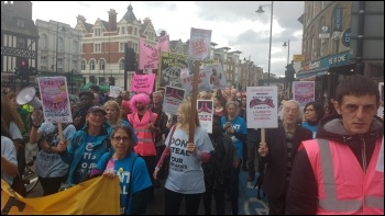 'Stand Up to Lambeth' campaigners marching down Clapham High Street in south London, 8.10.16, photo by James Ivens