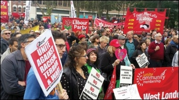 Socialist Party members joined the march commemorating the 80th anniversary of Cable Street, 9.10.16, photo by Socialist Party