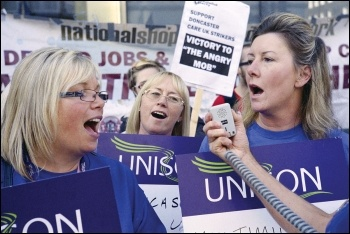 Privatised NHS workers employed by Care UK in Doncaster striking against cuts, photo by Paul Mattsson