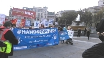 Hands Off HRI and other groups protesting in London, 10.10.16