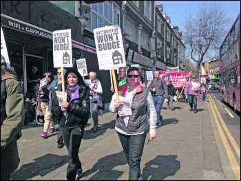 Butterfields tenants on the march during their nine month long campaign photo Sarah Wrack