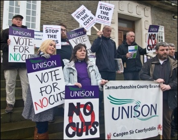 Trade unionists in Carmarthenshire lobbying their Labour council for a no-cuts budget in 2014, photo by Scott Jones