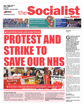 The Socialist issue 922 front page - Protest and strike to save our NHS
