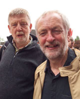 Dave Nellist, one of the letter's signatories, and Jeremy Corbyn, at the Burston rally, 4.9.16, photo Teresa Mackay