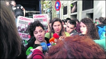 ES general secretary Ana Garcia (left) and Socialist Students national organiser Claire Laker-Mansfield (centre) speak to the media photo ES