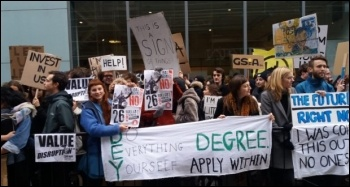 Students protesting at Glasgow School of Art photo Socialist Party Scotland