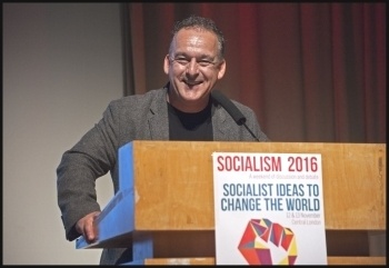 RMT president Sean Hoyle speaking at Socialism 2016, photo Paul Mattsson