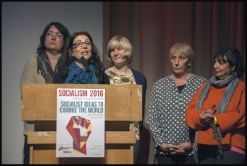 Victorious Butterfields tenants at Socialism 2016 - Anna Palumbo speaking, photo Paul Mattsson