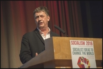 Chris Baugh, PCS assistant general secretary, speaking at Socialism 2016, photo Paul Mattsson
