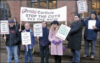 Carlisle Socialist Party members protesting against cuts to care homes, 9.11.16, photo by Carlisle Socialist Party