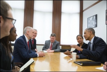 Jeremy Corbyn with Blairite Hilary Benn meeting outgoing US president Barack Obama, April 2016