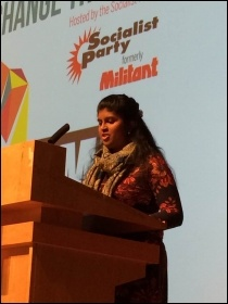 Isai Priya speaking for Tamil Solidarity at the closing rally of Socialism 2016, photo by Dave Gorton