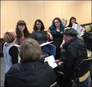School students discussing socialist ideas at Socialism 2016, photo Paula Mitchell