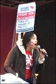 Darletta Scruggs speaking at the NUS-UCU demo, London, 19.11.16, photo by Paula Mitchell