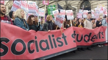 Socialist Students contingent on 19 November NUS demo photo James Ivens