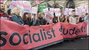 Socialist Students contingent on 19 November NUS demo photo James Ivens