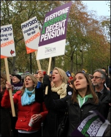 London strike demo 30 November 2011 pensions dispute photo Senan, photo Senan