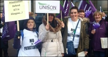 Unison members striking against ICT privatisation photo Socialist Party Scotland