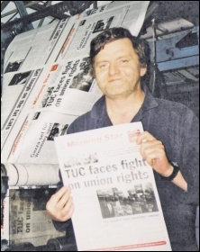 John Sharpe working on the Militant's press, here pictured printing the Morning Star on one of the two occasions Militant assisted with this