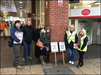 CWU picket line in Leeds photo Leeds Soic