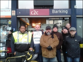 Pickets at Barking station, 9.1.17, photo by Pete Mason