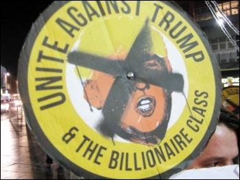Banner in Leicester, 21.1.17, photo Caroline Vincent