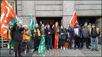 RMT Southern picket line at Victoria station, London on 24 January photo RMT