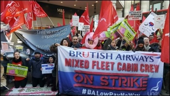 BA strikers protest outside M&S on Oxford Street, 21 January photo Neil Cafferky