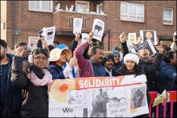 Isai Priya and Tamil Solidarity on a solidarity demonstration in East Ham, 22.1.17, photo by Tamil Solidarity