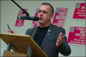 Sean Hoyle speaking at the 2017 TUSC conference, 28.1.17, photo Paul Mattsson