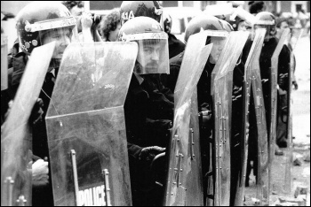 Riot police attacked a mass picket of the Orgreave coking plant in 1984, photo by West Midlands Police (Creative Commons)