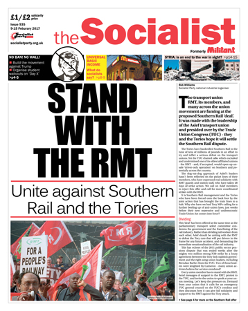 The Socialist issue 935 front page: Stand with the RMT