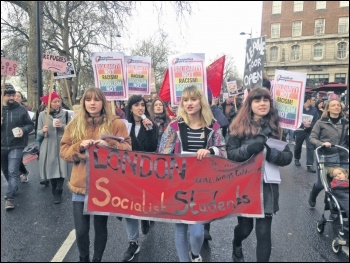 Socialist Students members marching against Trump in London, 4.2.17, photo Sarah Wrack