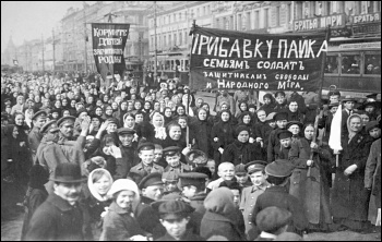 Workers demonstrating on the first day of the February revolution