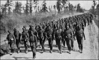 Russian soldiers in 1917 marching to the front of World War One