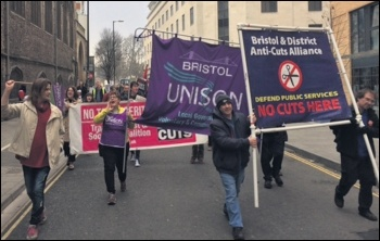 Marching against the cuts in Bristol, 18.2.17, photo by Roger Thomas