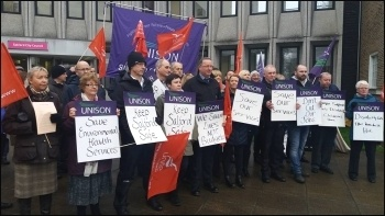 Anti-cuts lobby in Salford, 22.2.17, photo by Becci Heagney