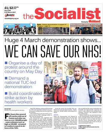 The Socialist issue 939 front page - We can save our NHS!